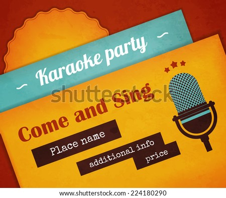 Textured poster karaoke party with microphone. Text outlined. Free fonts - Lobster, Ultra, Special Elite - stock vector