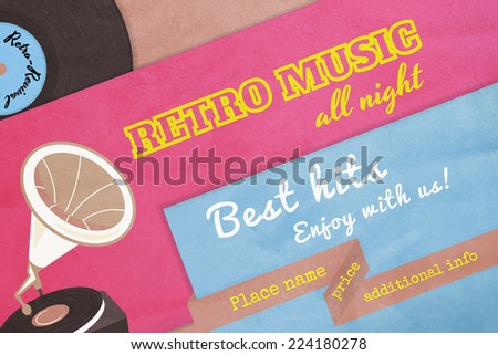 Textured poster retro music with gramophone. Text outlined. Free fonts - Alfa Slab One, Yesteryear, Pacifico Regular, Special Elite - stock vector