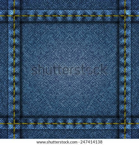 Textured striped blue jeans denim linen fabric frame background. Vector illustration. - stock vector