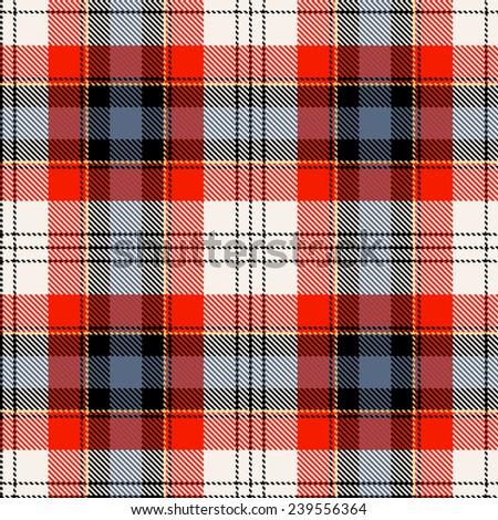 Textured tartan plaid. Seamless vector pattern - stock vector