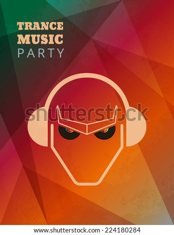 Textured trance music party poster. Text outlined. Free fonts - Bevan, Open Sans - stock vector