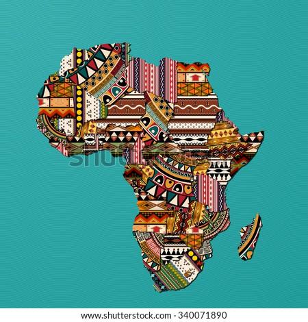 Textured vector map of Africa - stock vector