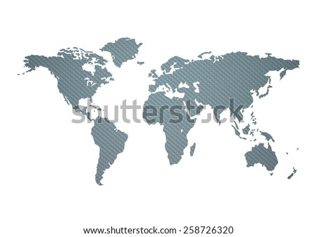 Textured World Map On A White Background - stock vector