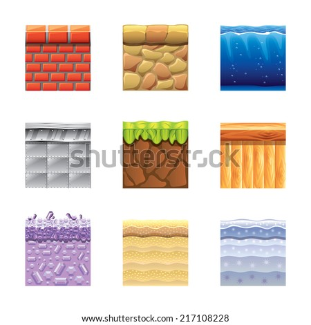 Textures for platformers icons photo-realistic vector set - stock vector