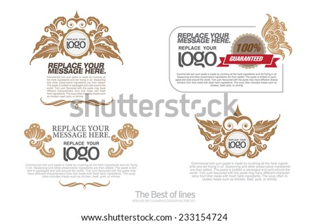 thai art  Insignias or Logotypes set. Vector design elements, business signs, logos, identity, labels, badges and objects. - stock vector