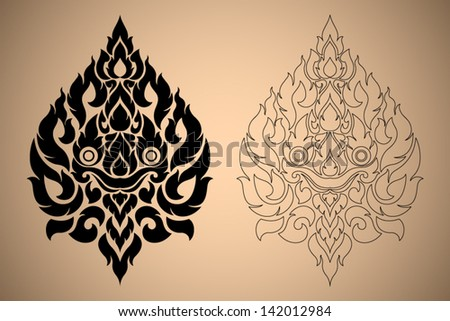 Thai Art Modern Design New Style Lion Face Vector Illustration Black Color and Out Line - stock vector