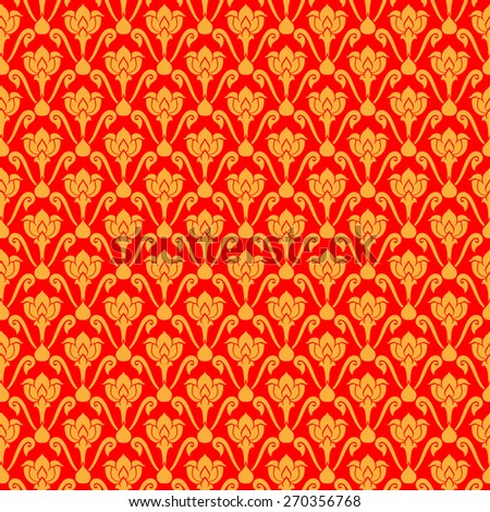 Thai art pattern design Red and Gold - stock vector
