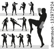 Thai boxing.Muay Thai.Vector silhouettes. EPS-10 (non transparent elements, non gradient) - stock photo