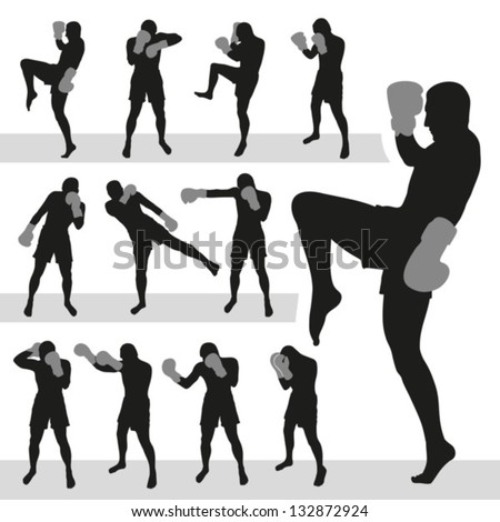 Thai boxing.Muay Thai.Vector silhouettes. EPS-10 (non transparent elements, non gradient) - stock vector