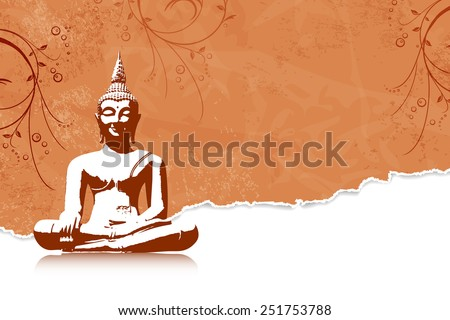 Thai culture concept with buddha silhouette - stock vector