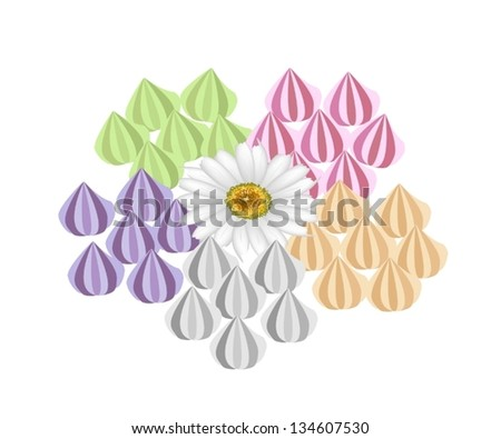 Thai Dessert of Colorful Thai Style Handmade Candy, Crispy Outside and Soft Inside with Daisy or Chamomile Flower - stock vector
