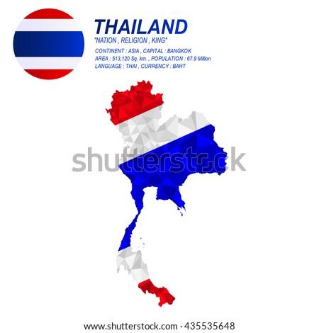 Thai flag overlay on thai map with polygonal style.(EPS10 art vector) - stock vector