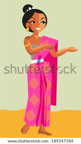 thai girl. Cartoon style vector illustration - stock vector
