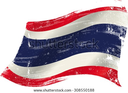 Thai grunge flag. flag of  Thailand in the wind with a texture - stock vector