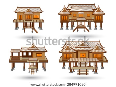 Thai house central region.  - stock vector