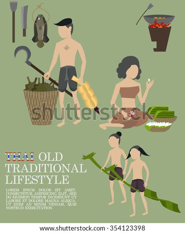 Thai old traditional lifestyle - stock vector
