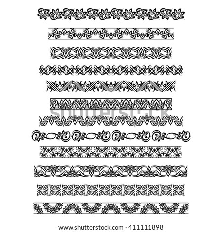 Thai ornament border patterns with floral motifs design. Vector illustration