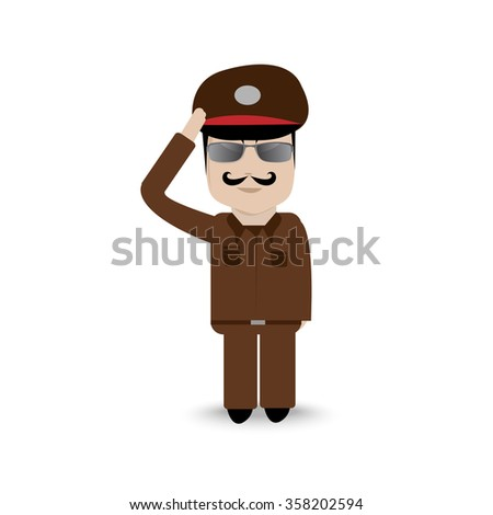 Thai police cartoon vector isolated - stock vector