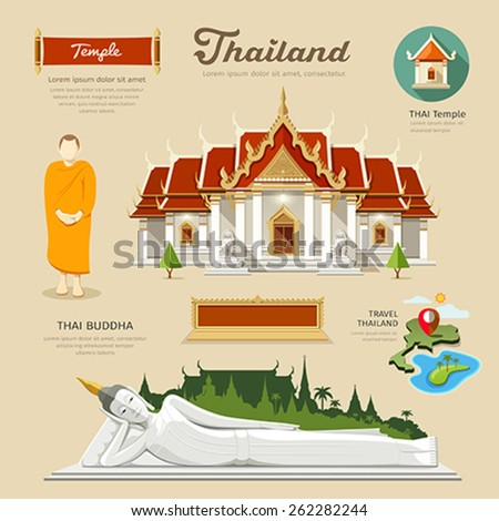 Thai Temple and Thai Buddha with monk and temple icons collections of thailand. vector illustration - stock vector
