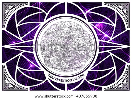 Thai tradition cut on triangle pattern with straight lines - stock vector