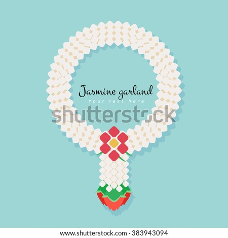 Thai traditional jasmine garland, illustration vector simple and flat design.