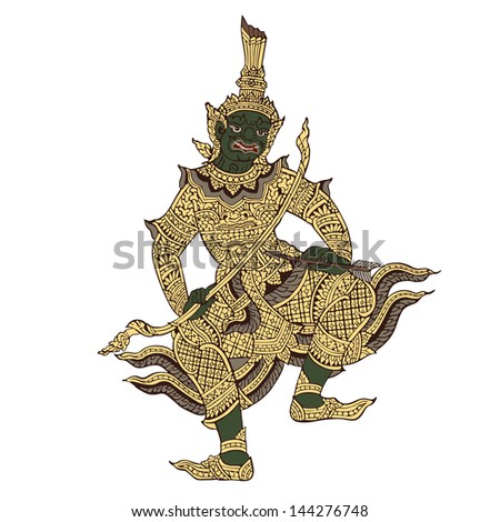 Thai warrior demon vector illustration - stock vector