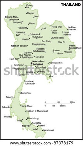 Thailand Country Map - stock vector