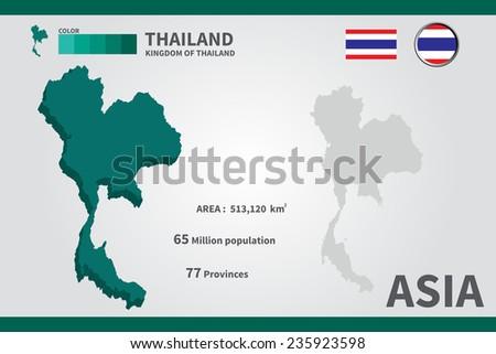 Thailand. flag. Asia. World Map. vector Illustration. - stock vector
