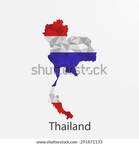 Thailand flag map in geometric,mosaic polygonal style.Abstract tessellation,background. Vector illustration EPS10