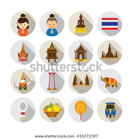 Thailand Flat Icons Set, Object, Landmarks, Art and Culture