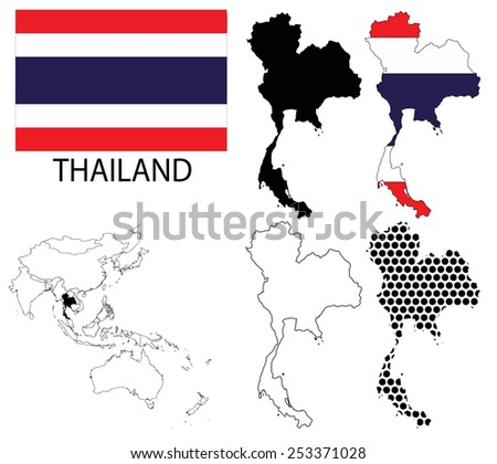 Thailand - Four optional contour maps, National flag and Asia map vector - stock vector