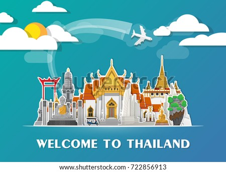 Thailand Landmark Global Travel And Journey Paper Background Vector Design Templateused For Your