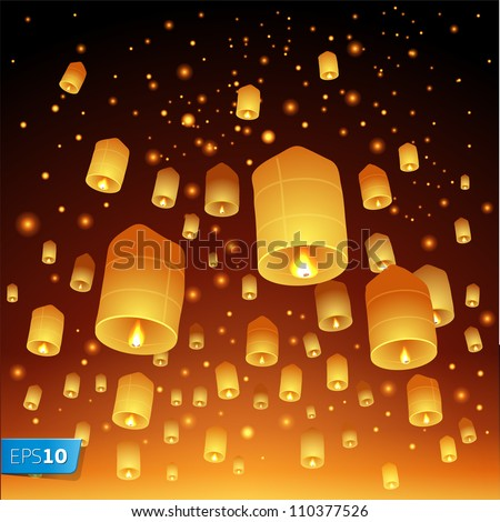 Thailand, Loy Krathong and Yi Peng Festival, vector Eps10 illustration