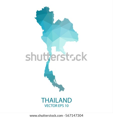 Map thailand stock vector 708202456 shutterstock thailand map blue geometric rumpled triangular low poly style gradient graphic background polygonal design gumiabroncs Images