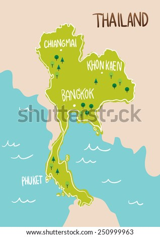 Thailand map drawing illustration vector