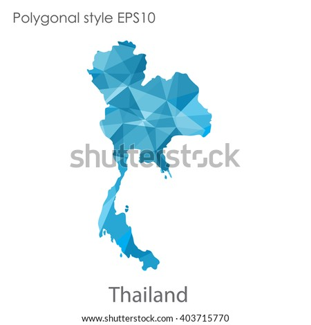 Thailand map in geometric polygonal style.Abstract gems triangle,modern design background. - stock vector
