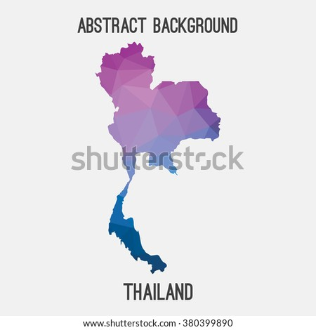 Thailand map in geometric polygonal style.Abstract tessellation,modern design background. Vector illustration EPS8 - stock vector