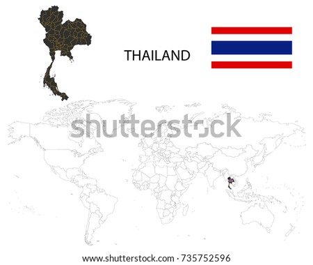 Thailand map on world map flag stock photo photo vector thailand map on a world map with flag on white background gumiabroncs Images