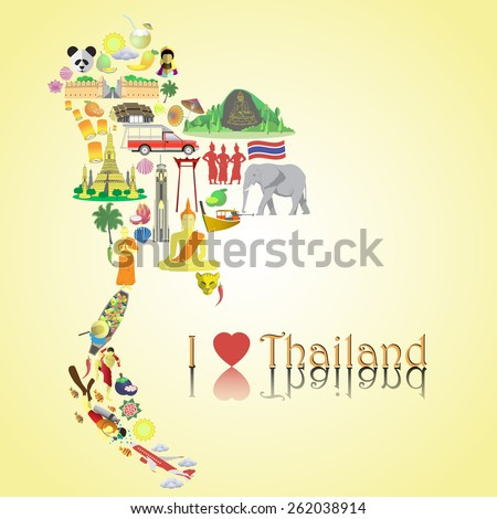 Thailand map. Thai color vector icons and symbols in form of map - stock vector
