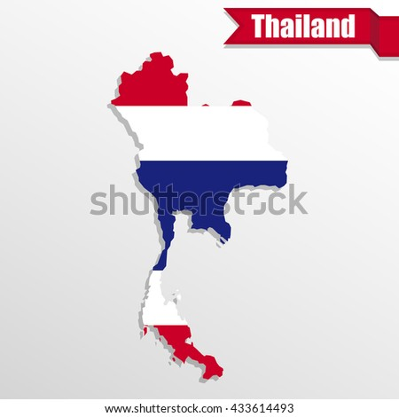 Thailand map with flag inside and ribbon