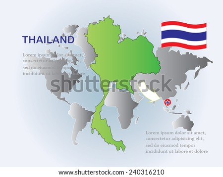 Thailand map flag on world map stock photo photo vector thailand map with flag on world map backgroundmap vectorthailand map vector gumiabroncs Images