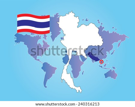 Thailand map flag on world map stock vector 240316213 shutterstock thailand map with flag on world map backgroundmap vectorthailand map vector gumiabroncs Images
