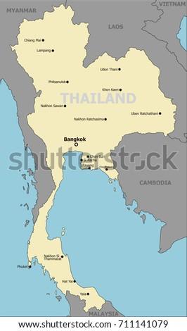 Thailand political map main cities stock vector 711141079 thailand political map main cities sciox Gallery