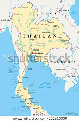 Thailand Political Map Capital Bangkok National Stock Vector - English world political map