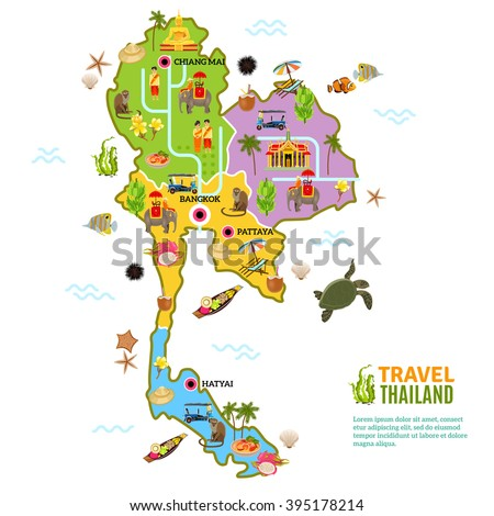 Thailand poster with map and picture of main attractions and heritage of the country on white background vector illustration - stock vector