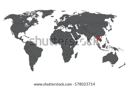 Myanmar red on gray world map stock vector 619167641 shutterstock thailand red on gray world map vector gumiabroncs Images