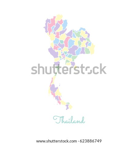Thailand Region Map Colorful White Outline Stock Vector - Thailand regions map