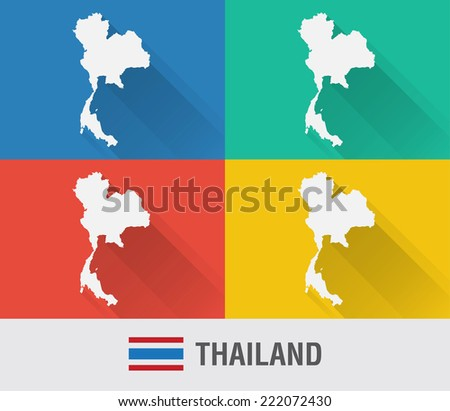 Thailand world map in flat style with 4 colors. Modern map design. - stock vector
