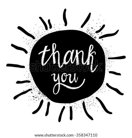 Thank handwritten vector illustration, white brush lettering on a black background of the sun. Suitable for labels, design t-shirts, posters. Vector - stock vector