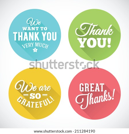 Thank You Abstract Vector Flat Style Badges or Icons Isolated - stock vector